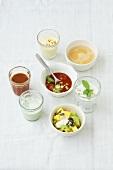 Breakfast drinks, soups and pineapple & celery salad