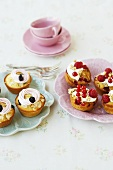 Almond and cherry cupcakes and muesli cupcakes with berries