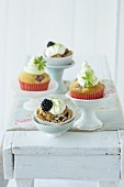 Rhubarb cupcakes and blackberry cupcakes