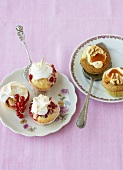 Redcurrant cupcakes and polenta pear cupcakes