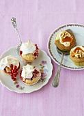 Redcurrant cupcakes and polenta pear cupcakes
