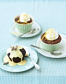 Chocolate pudding cupcakes and limoncello cupcakes