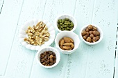 Raisins, walnuts, pistachios, hazelnuts and almonds