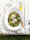Beetroot salad with barbecued cod