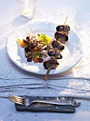 Apple and celeriac salad with barbecued plum skewers