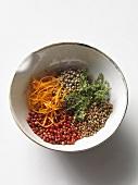 Ingredients for orange and thyme seasoning