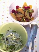 Peach salad and cucumber spaghetti salad