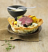 Ratatouille tart with lamb and rosemary sabayon