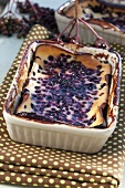 Elderberry pudding in baking dish