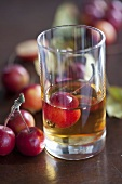 Crab apple liqueur in glass