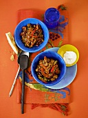 Chili con carne with sour cream (Mexico)