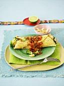 Wrap with broccoli and tomato salsa (Mexico)