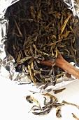 Green tea from Sri Lanka in foil