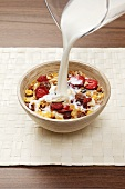 Pouring milk onto fruit muesli
