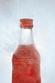 Red vodka in icy bottle