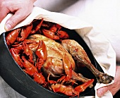 Bresse chicken with crayfish