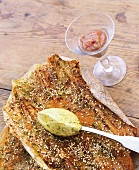 Sesame flatbread with tarragon mustard