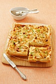 Leek and goat's cheese puff pastry tart