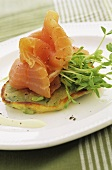 Smoked salmon and cress on pikelet