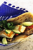 Halloumi and vegetable wraps