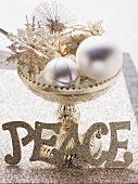 Christmas decoration in silver dish