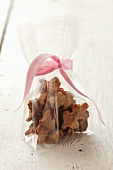 Gingerbread biscuits in cellophane bag