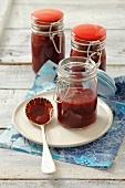 Blackcurrant jam in jars