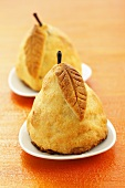 Pear baked in pastry with raisin and cinnamon stuffing