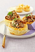 Puff pastry shells filled with chanterelles