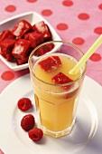 Lemonade with raspberries