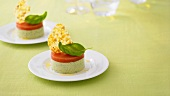 Basil mousse with tomato jelly and Parmesan crisps