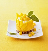 Mango and quark mousse on date and almond base