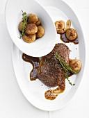 Sirloin steak with onions