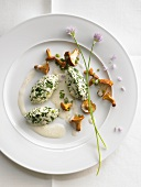 Spinach and ricotta quenelles with chanterelles