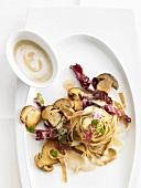Tagliatelle with a porcini mushroom and radicchio sauce