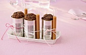 Chocolate puddings baked in food tins