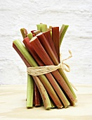 Sticks of rhubarb, tied together