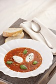 Tomato soup with red lentils and soft cheese