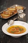 Onion soup with parsley