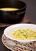 Corn soup with snipped chives