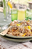 Chinese chicken salad with peppers and sprouts