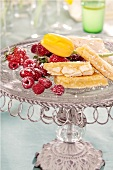 Lemon bars garnished with fresh berries