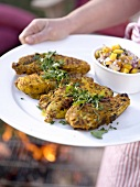 Barbecued tandoori chicken with mango relish