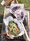 Barbecued salmon with Asian noodle salad