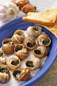 Snails with herb butter and toast