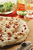 Onion and bacon tarte flambée