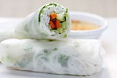 Rice paper rolls with rice and vegetable filling (Asia)