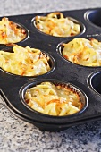 Pasta nests in muffin tin