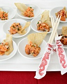 Salmon tartare with crispy wonton wrappers