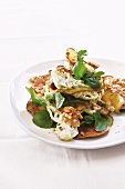 Fennel remoulade with sweet potato crisps, walnuts and watercress